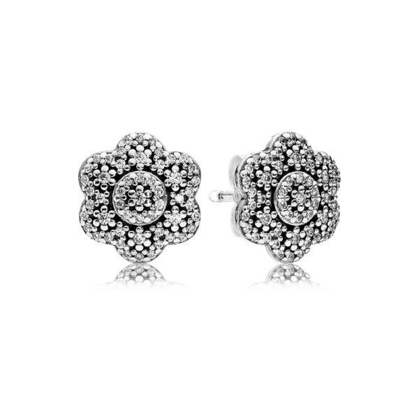 290732CZ pandora crystallised floral stud earrings