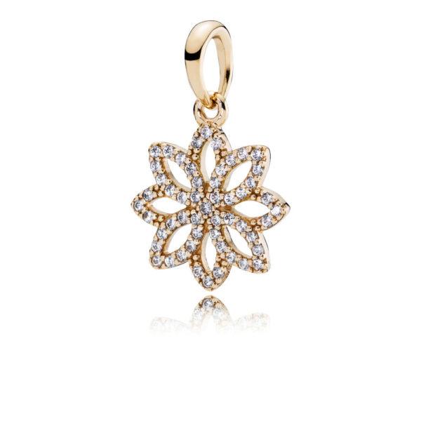 350179cz Pandora Lace Botanique Pendant Charm, 14k Gold