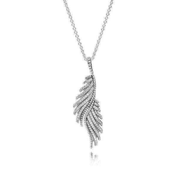 390373cz Pandora Silver Majestic Feathers Necklace Pendant