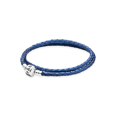 590705csb-d pandora Blue Double Woven Leather Bracelet