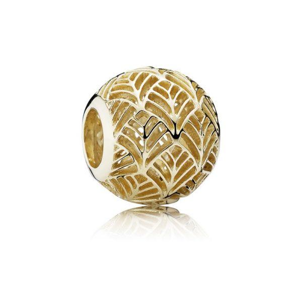 750834 pandora Tropicana Palm Leaf Openwork Charm, 14k Gold