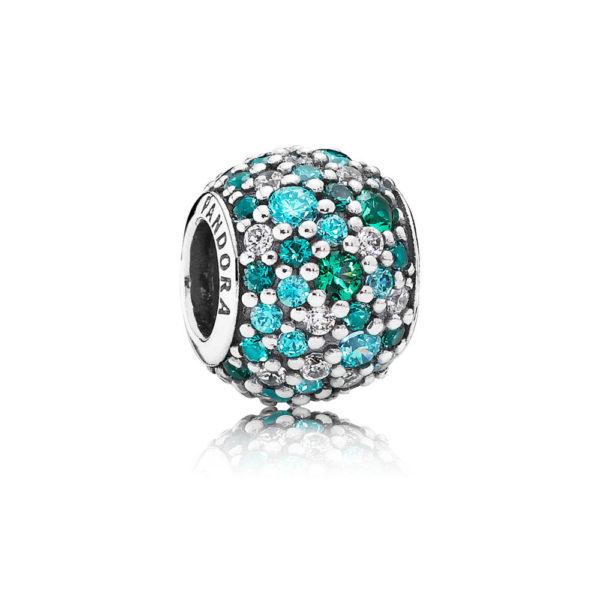 791261mczmx pandora Ocean Mosaic Pavé Ball Charm, Mixed Green CZ & Crystal