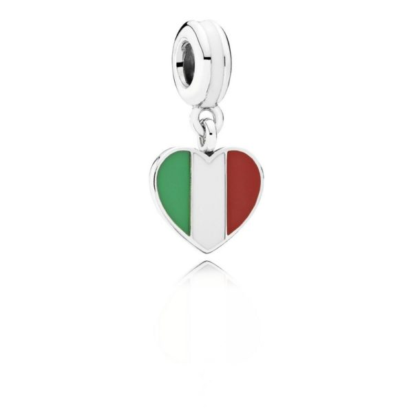 791547enmx pandora Italy Heart Flag Pendant Charm