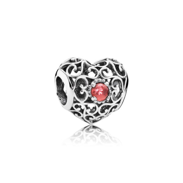 791784gr Pandora January Signature Heart Birthstone Charm, Garnet
