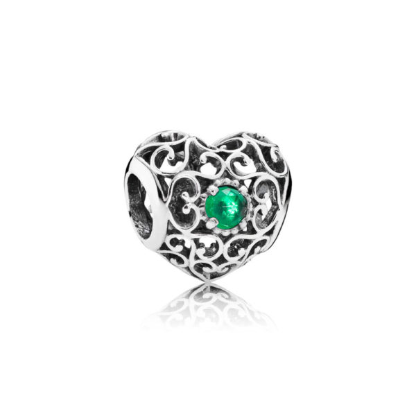 791784nrg Pandora May Signature Heart Birthstone Charm, Royal Green Crystal