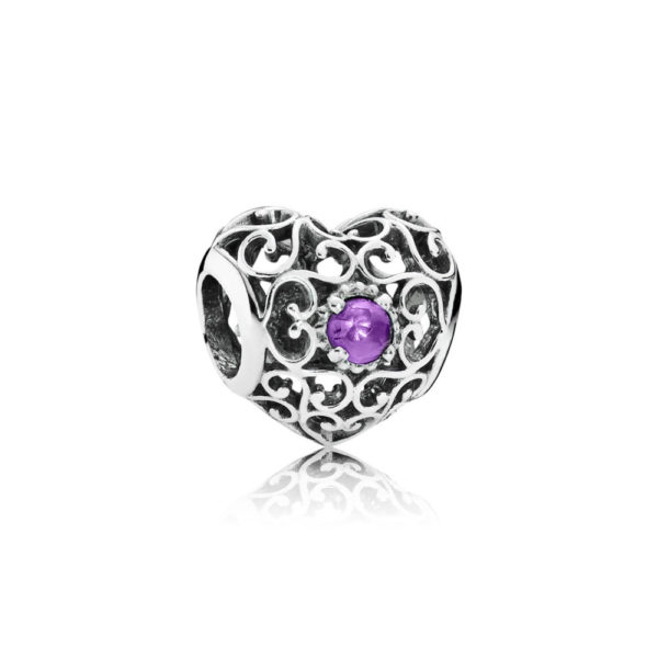 791784sam Pandora February Signature Heart Birthstone Charm, Synthetic Amethyst