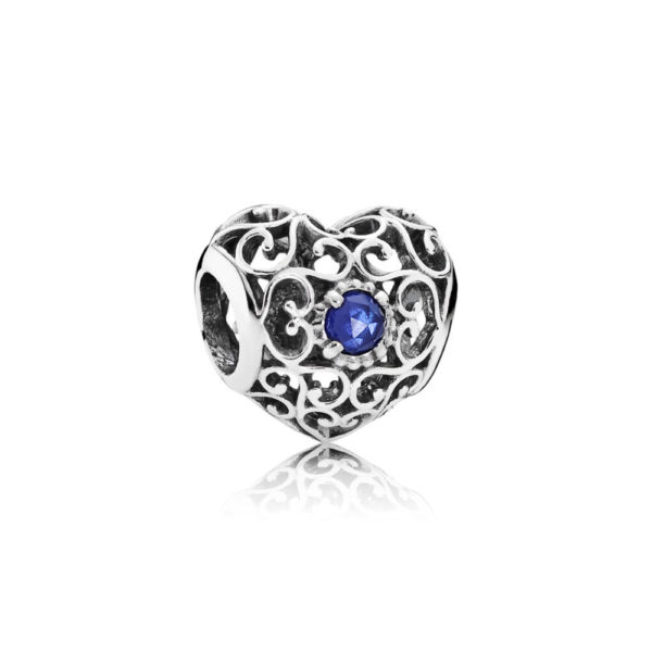 791784ssa Pandora September Signature Heart Birthstone Charm, Synthetic Sapphire