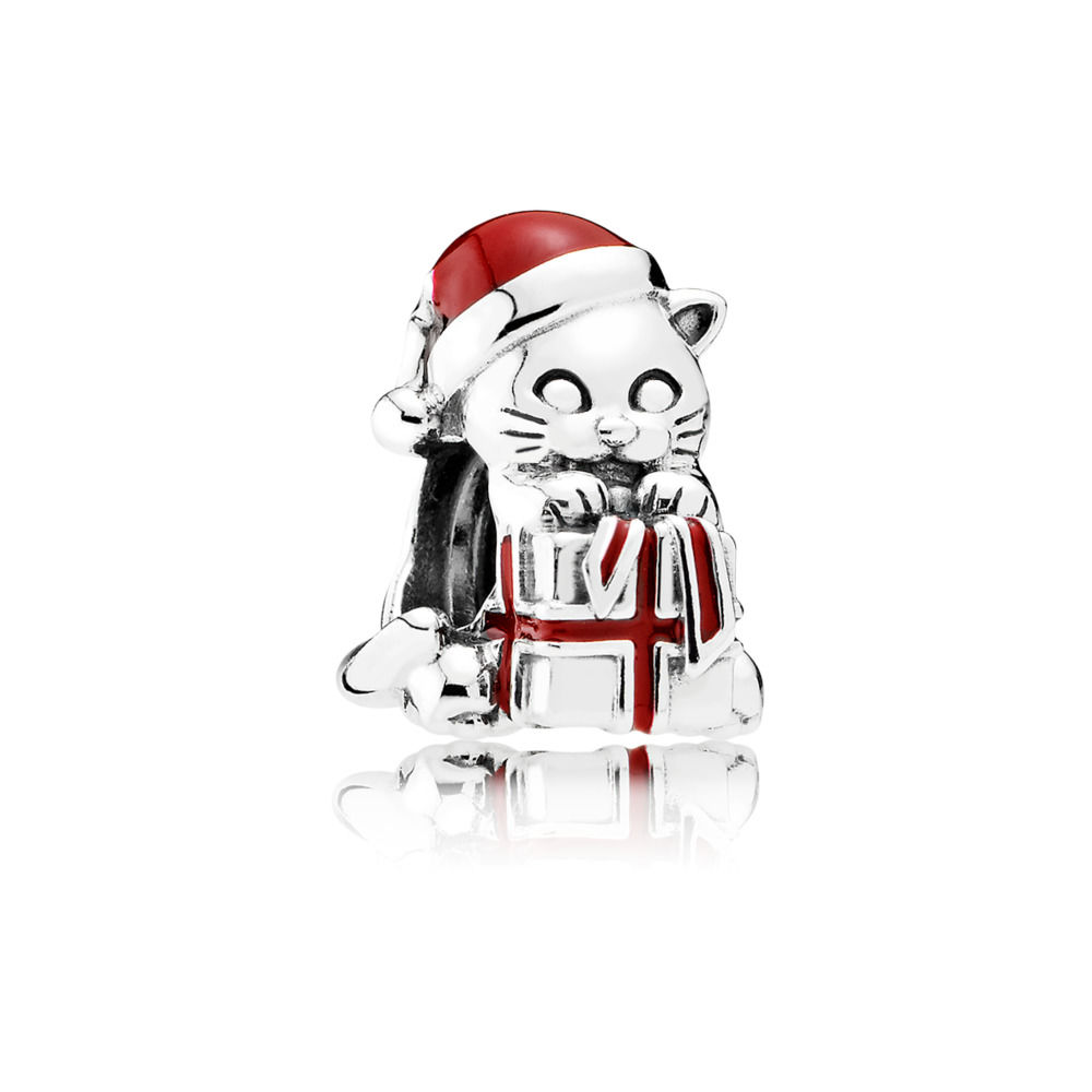 792007EN39 pandora christmas kitten charm