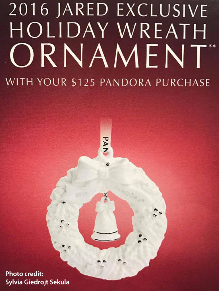 2016 Holiday Wreath Ornament pandora jared exclusive