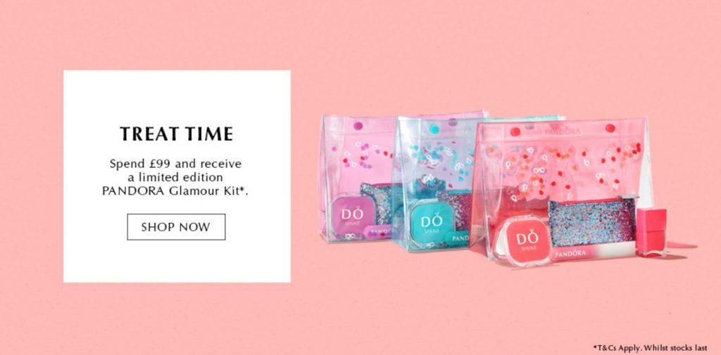pandora bank holiday glamour kit gift free gwp treat time uk nails in nail polish