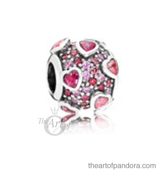 the pandora explosion of love charm looks exactly that an explosion of sparkling pink stones in