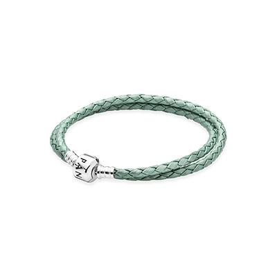 590705clg-d pandora Light Green Double Woven Leather Bracelet