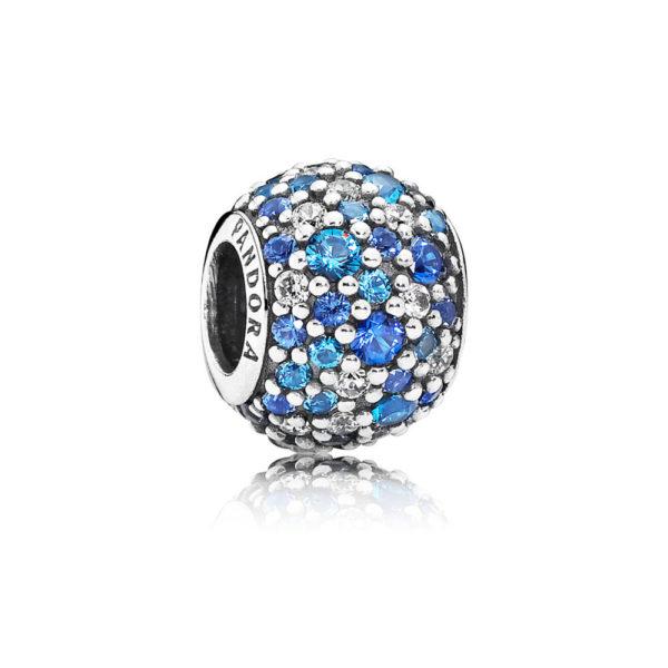 791261nsbmx Pandora Sky Mosaic Pavé Ball Charm, Mixed Blue CZ & Crystal