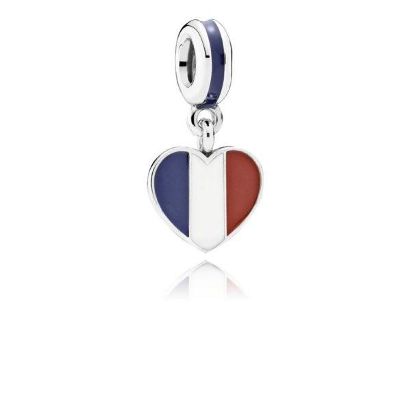 791546enmx pandora France Heart Flag Pendant Charm
