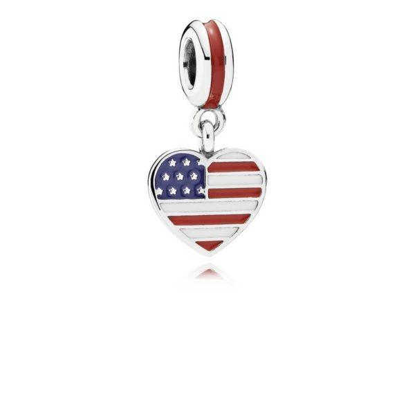 791548enmx pandora U.S. Heart Flag Pendant Charm