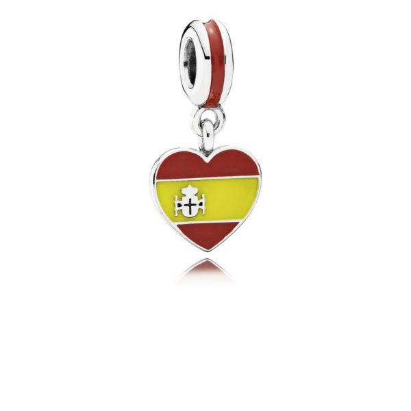 791550enmx pandora Spain Heart Flag Pendant Charm