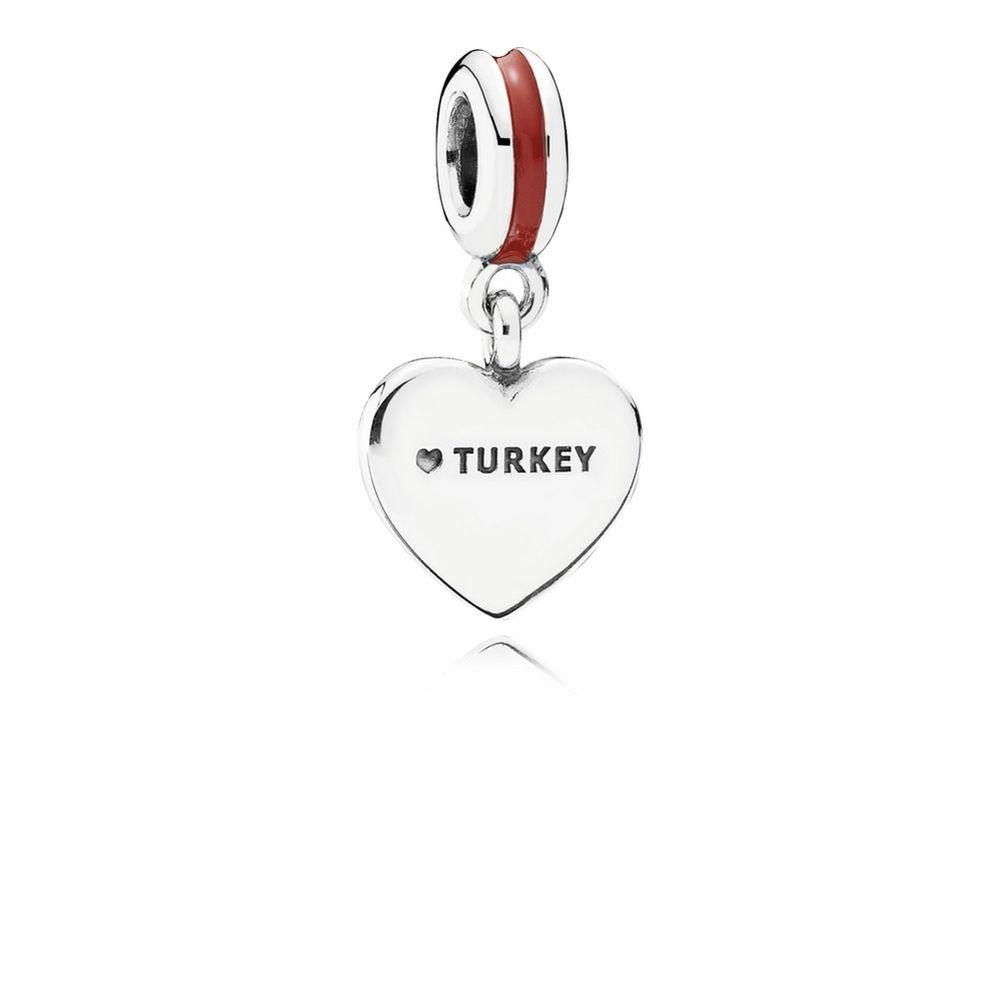 791552enmx pandora Turkey Heart Flag Pendant Charm