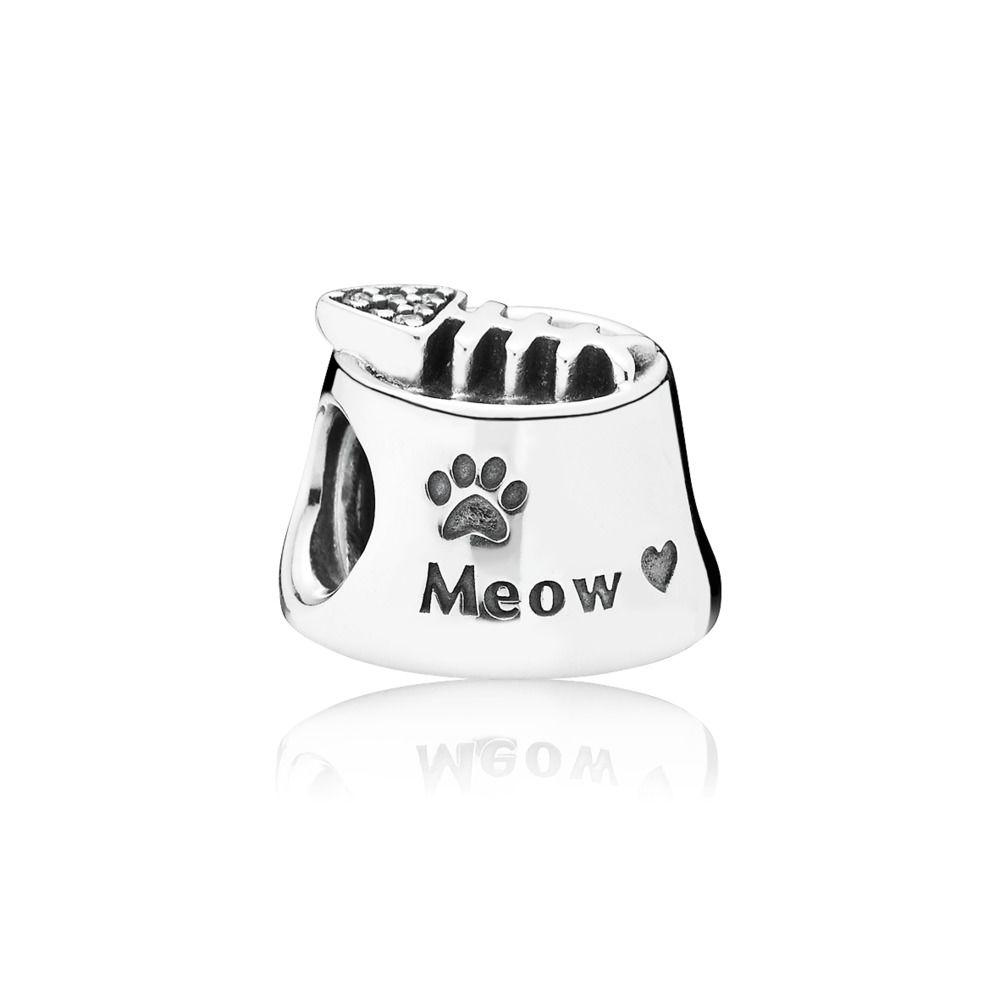 791716cz Pandora Meow Cat Bowl Charm