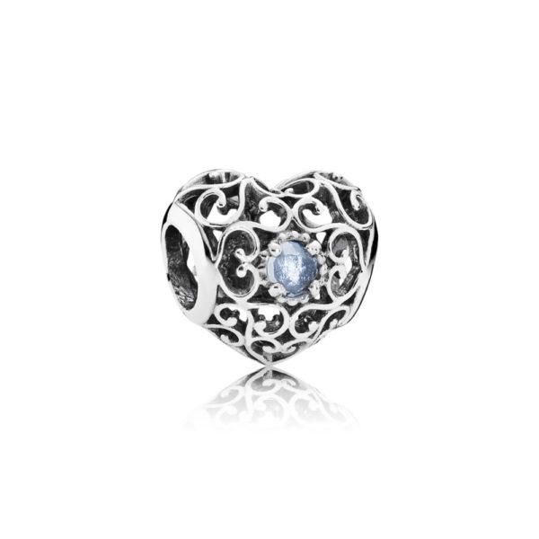 791784nab Pandora March Signature Heart Birthstone Charm, Aqua Blue Crystal