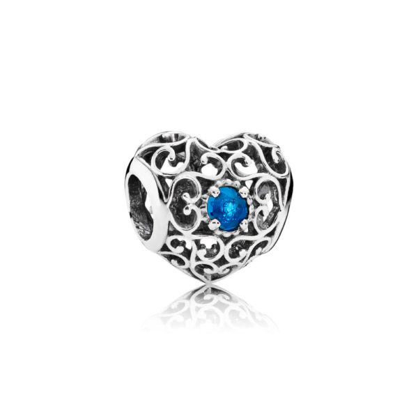 791784nlb Pandora December Signature Heart Birthstone Charm, London Blue Crystal