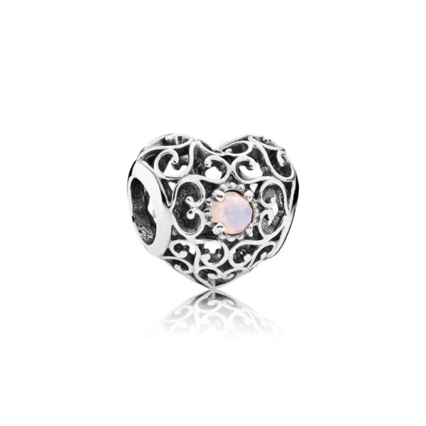 791784nop Pandora October Signature Heart Birthstone Charm, Opalescent Pink Crystal