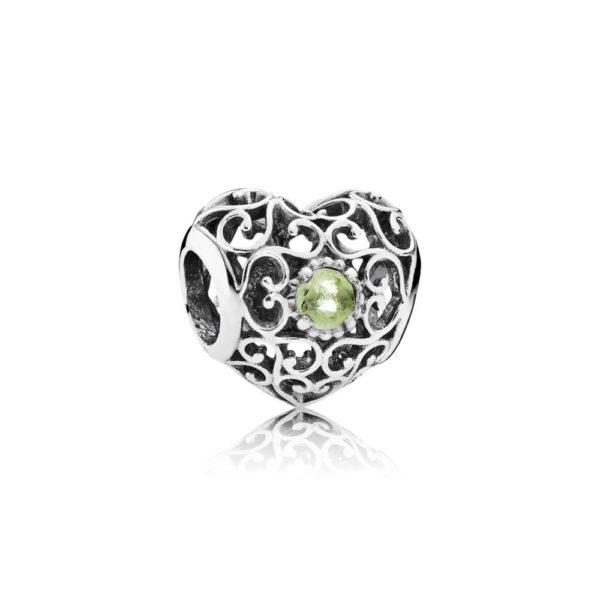 791784pe Pandora August Signature Heart Birthstone Charm, Peridot