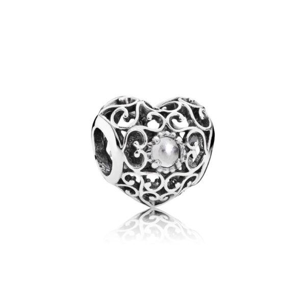 791784rc Pandora April Signature Heart Birthstone Charm, Rock Crystal