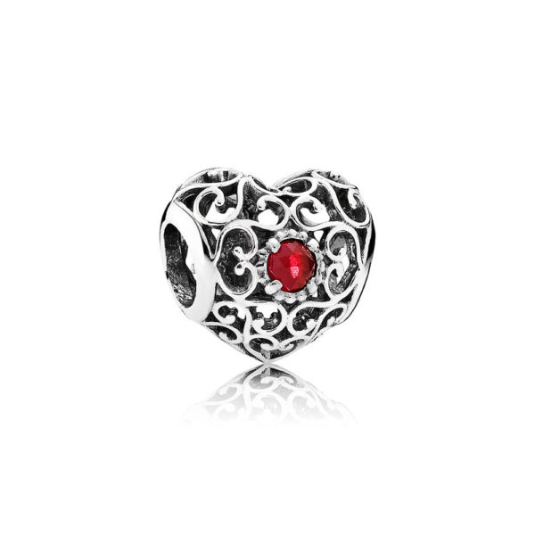 791784sru Pandora July Signature Heart Birthstone Charm, Synthetic Ruby
