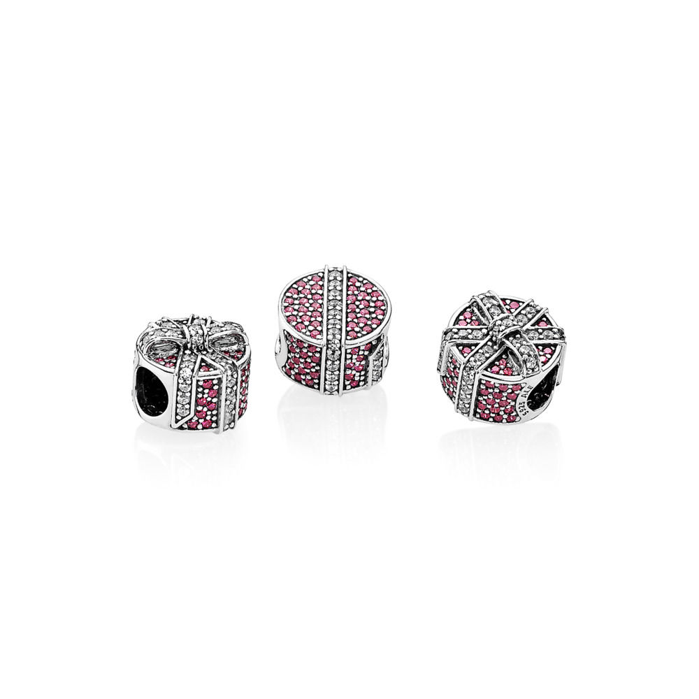 792006czr pandora red shimmering gift charm