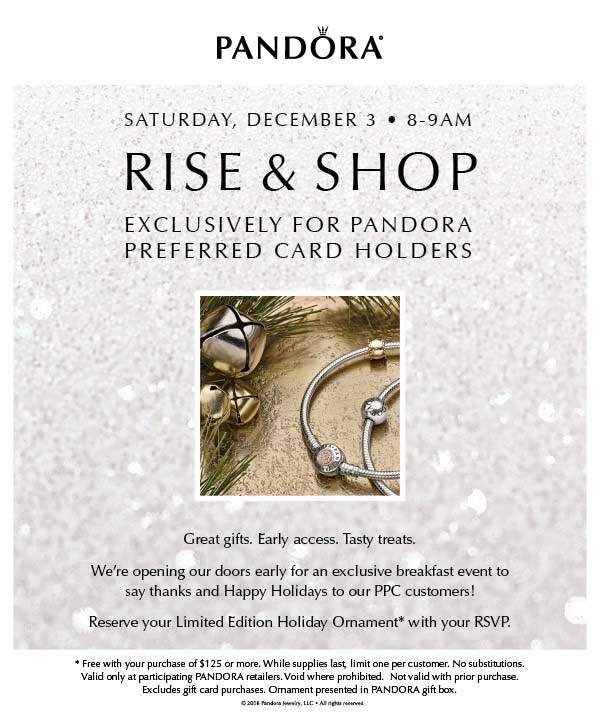 PANDORA Preferred Card Holders Rise & Shop Event