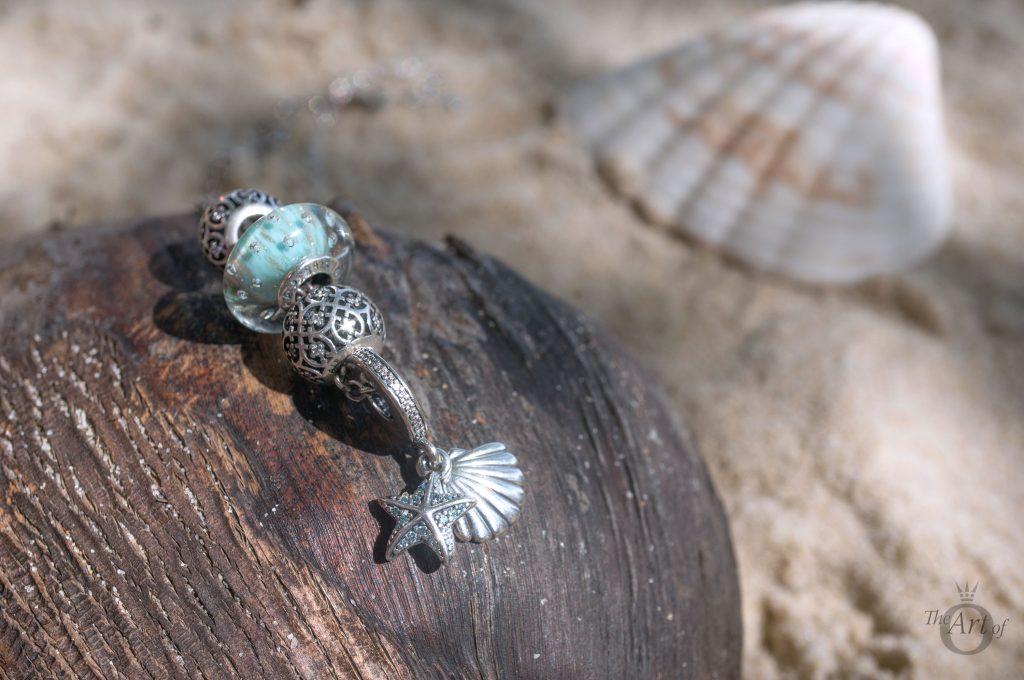 PANDORA Summer 2017collection Under the SeaTropical Starfish & Seashell Pendant Charm 792076CZF