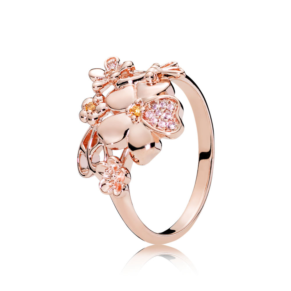 187083NPRMX PANDORA Rose Wildflower Meadow Ring