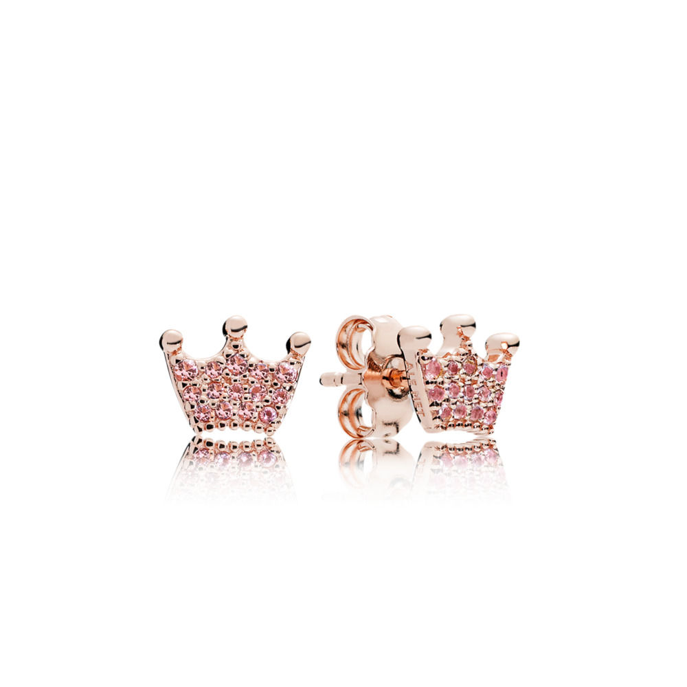 PANDORA Rose Pink Enchanted Crown Earring Studs