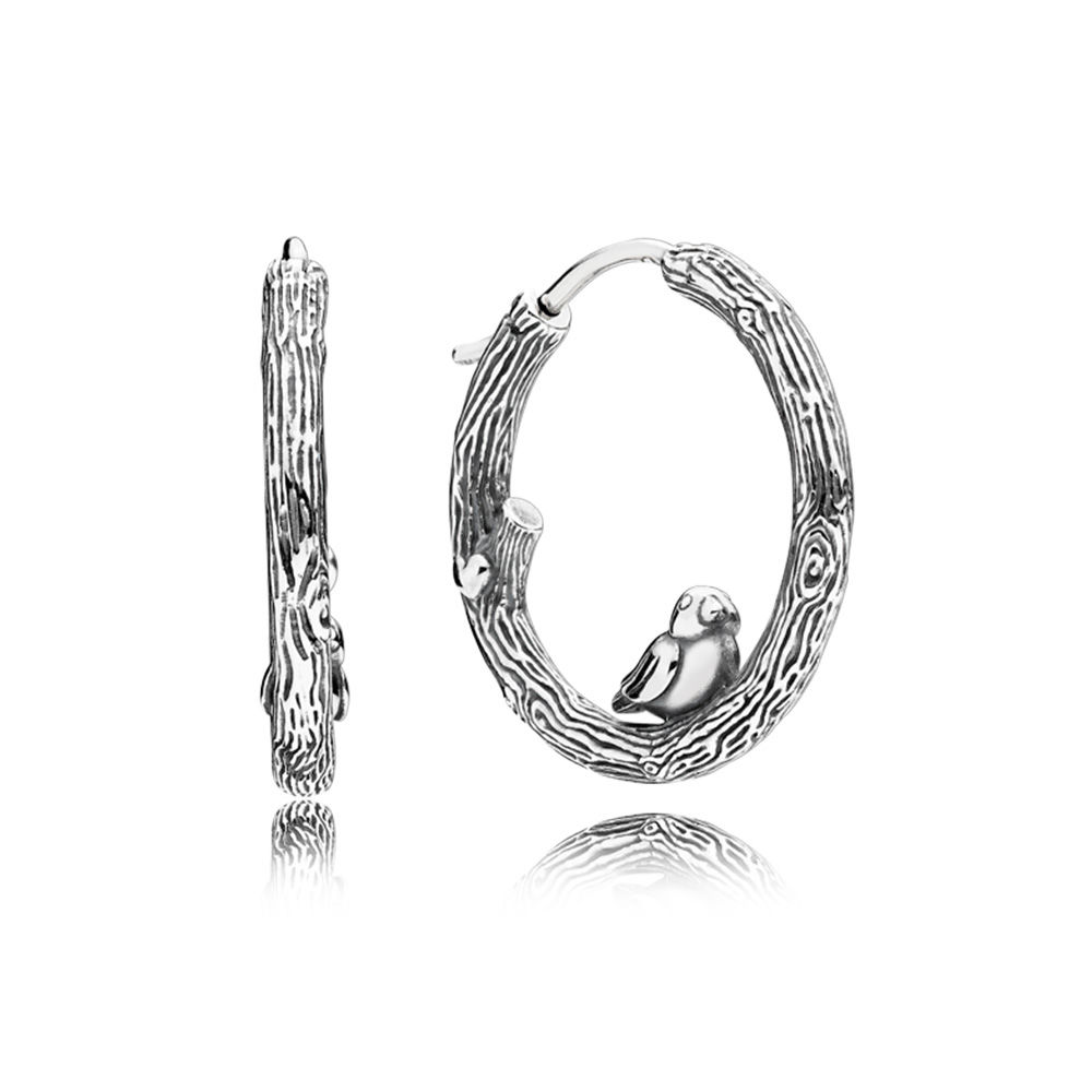 297072 Spring Bird Earring Hoops pandora