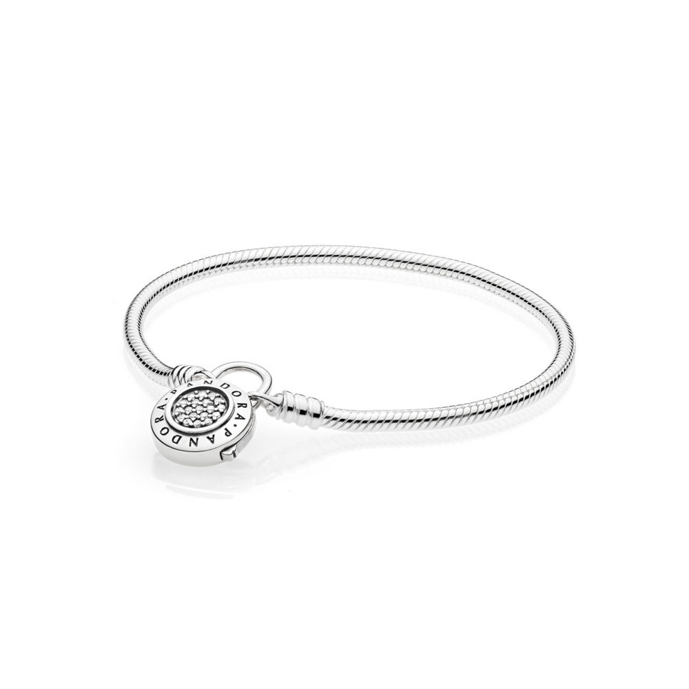 597092CZ MOMENTS Smooth Bracelet with PANDORA Signature Padlock