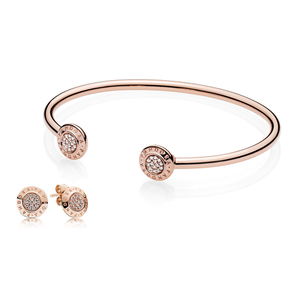 RAU0410 PANDORA Rose Signature Bangle and Earring Gift Set