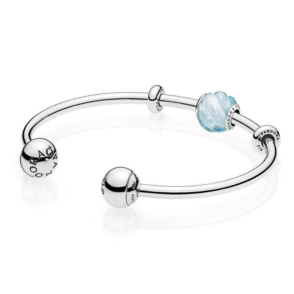 RAU0411 Blue Ripples Open Bangle Gift Set