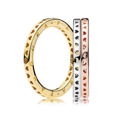 RAU0413 PANDORA Signature Mixed Metals Ring Stack