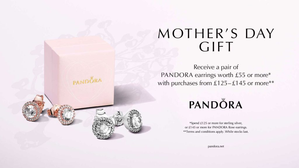 pandora uk mothers day 11 march 1 - 11 2018 free gift purchase earrings rose shine