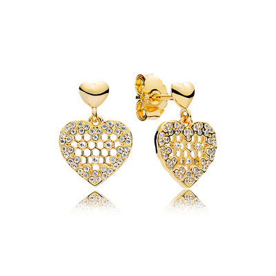 267068CZ PANDORA Shine Honeycomb Lace Earring Studs spring 2018 new collection