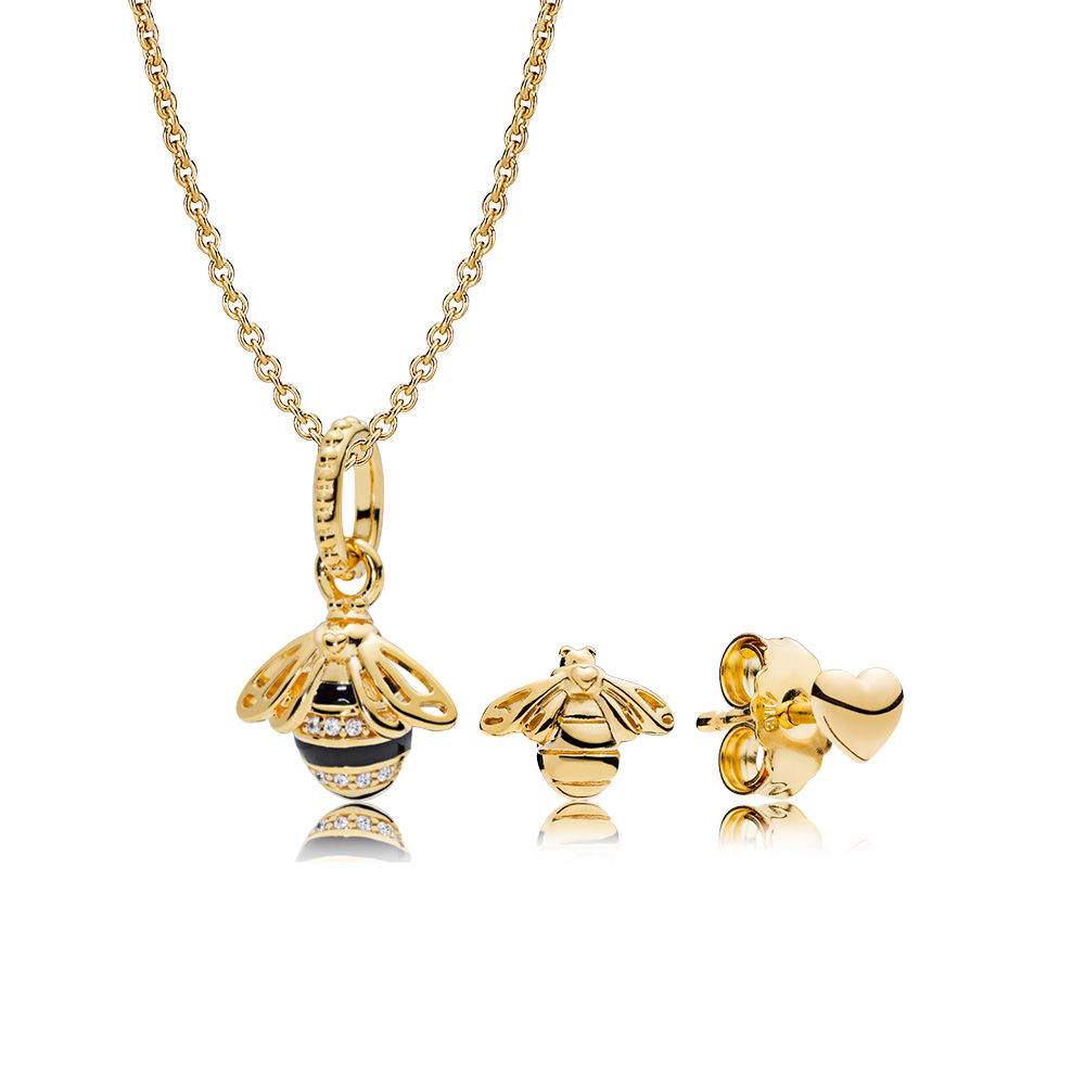 RAU0400 PANDORA Shine Queen Bee Necklace and Earring Set spring 2018 new collection