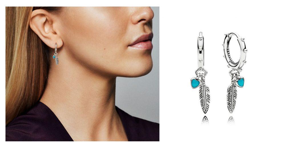 PANDORA Spiritual Feathers Drop Earrings (297205EN168)