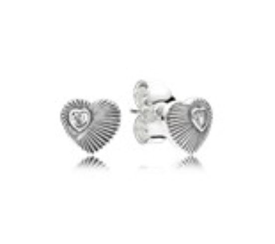 PANDORA Vintage Heart Fans Stud Earrings (297298CZ) $40 USD