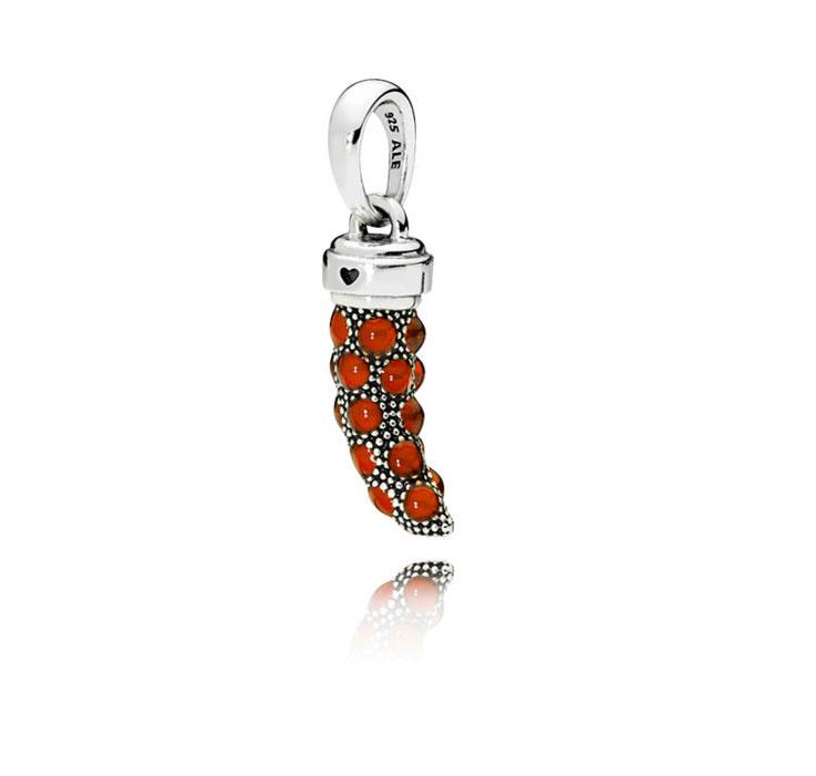 PANDORA Red Amulet / Italian Horn Pendant Charm (397203EN07)