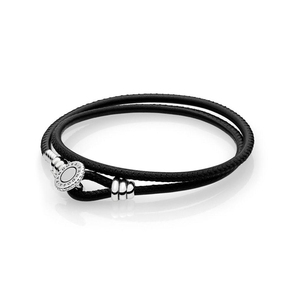 PANDORA Moments Double Leather Bracelet, Black (597194CBK-D)