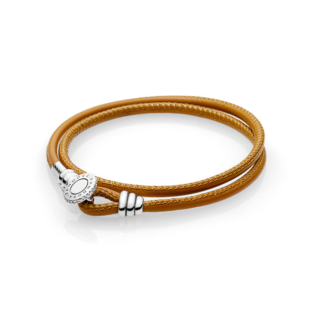 PANDORA Moments Double Leather Bracelet, Golden Tan (597194CGT-D)