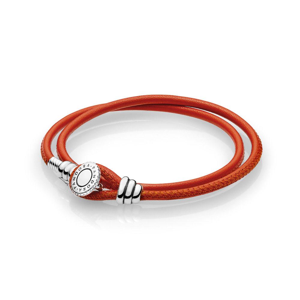 PANDORA Moments Double Leather Bracelet, Spicy Orange (597194CSO-D)
