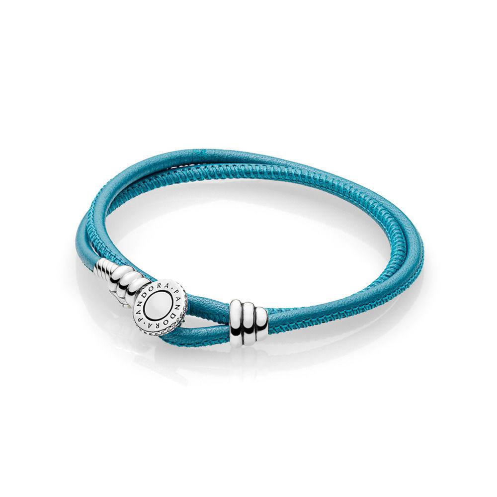 PANDORA Moments Double Leather Bracelet, Turquoise (597194CTQ-D)