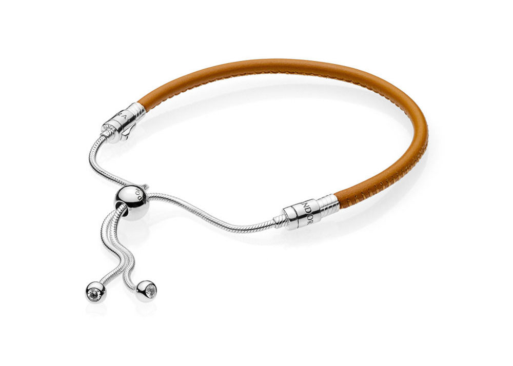 PANDORA Golden Tan Sliding Leather Bracelet (597225CGT-2)
