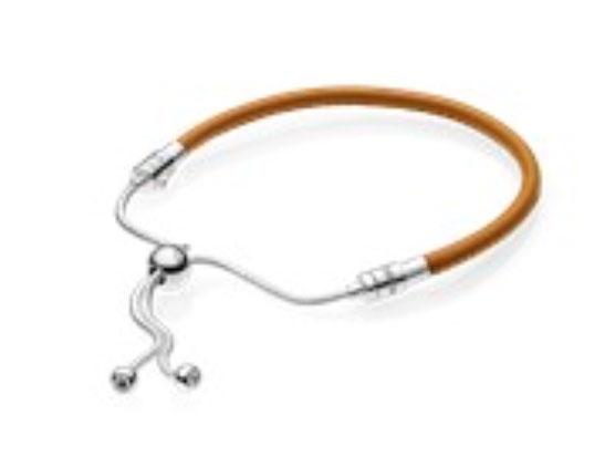PANDORA tan Leather Sliding Bracelet (597225Cgt-2) $55 USD